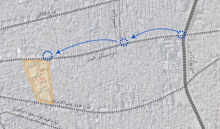 خريطة(4) اماكن انتقال موقف النقل العام و موقع مجمع المدارس الجديد