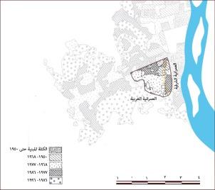 خريطة (2) الكتل المبنية بمدينة الجيزة حسب السنة طبقا لكتاب المدن المصرية ل د . احمد على إسماعيل