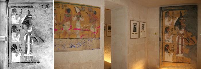 استنساخ الحائط الذي تم هدمه اثناء فتح المقبرة (من للصور الفوتوغرافين القديمة)