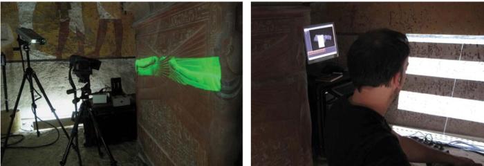 المسج الضوئي ثلاثي الابعاد للمقبرة